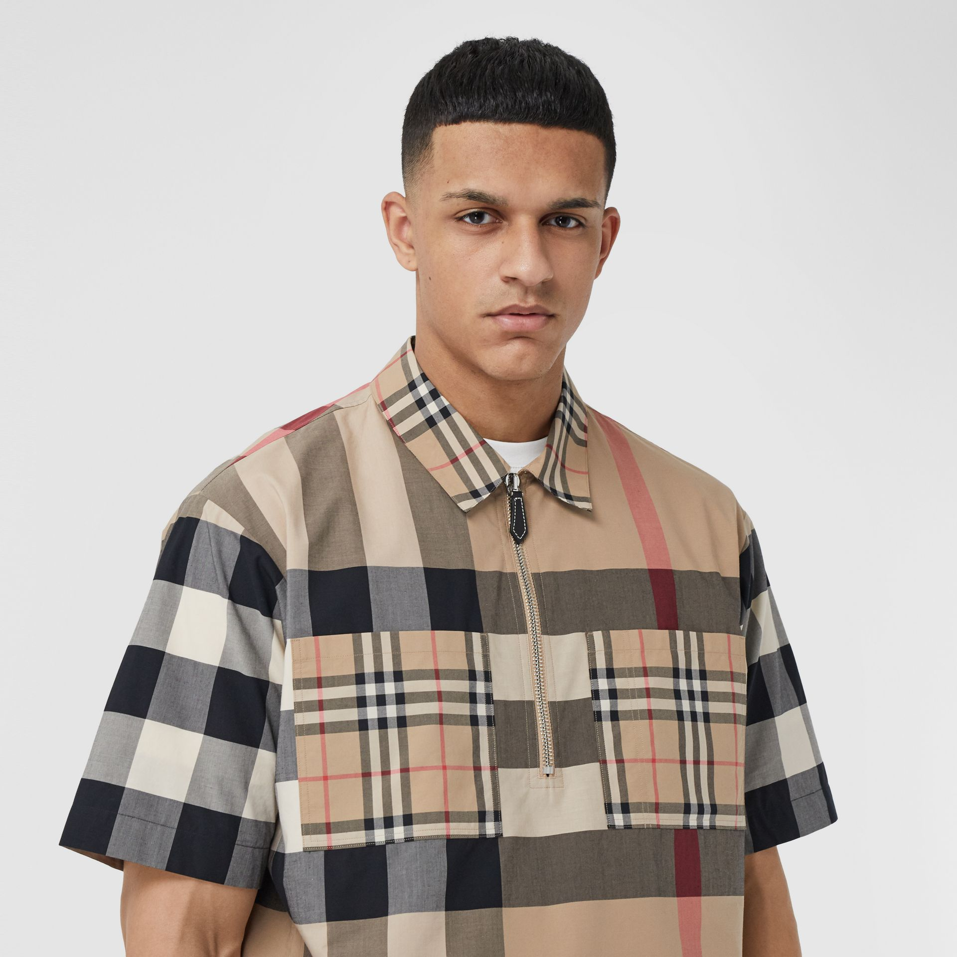 Short-sleeve Panelled Check Stretch Cotton Shirt in Archive Beige | Burberry United Kingdom - gallery image 1