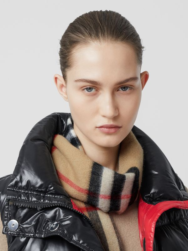 Logo Print Check Cashmere Scarf in Black | Burberry United States - cell image 2
