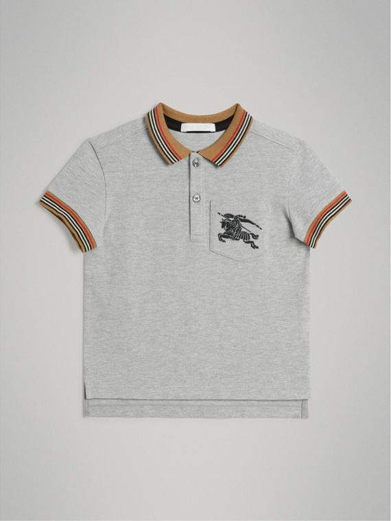 Heritage Stripe Detail Cotton Polo Shirt in Grey Melange