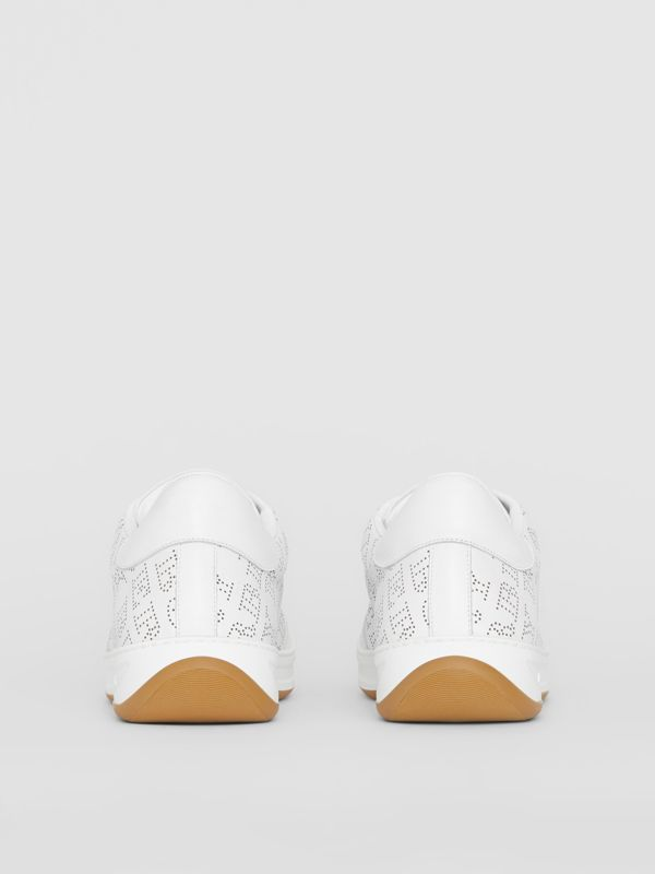 Logo Print Leather Sneakers in Optic White - Men | Burberry Canada - cell image 3