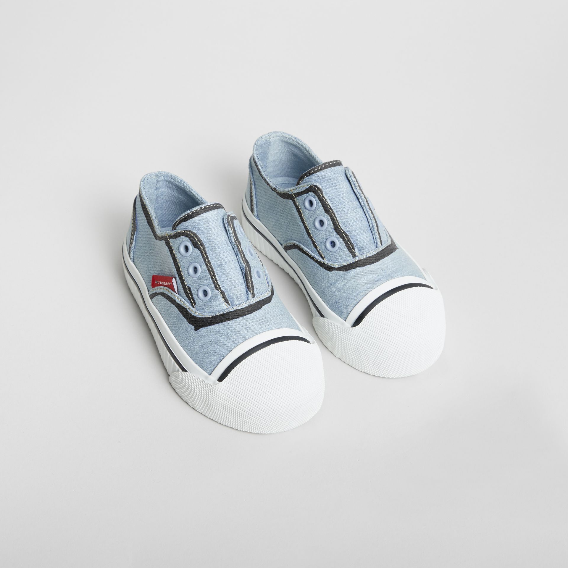 Scribble Print Slip-on Sneakers in Light Blue - Children | Burberry United Kingdom - gallery image 0