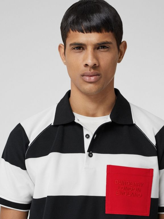 Rugby Stripe Tipped Cotton Piqué Oversized Polo Shirt in Black/white - Men | Burberry United Kingdom - cell image 1