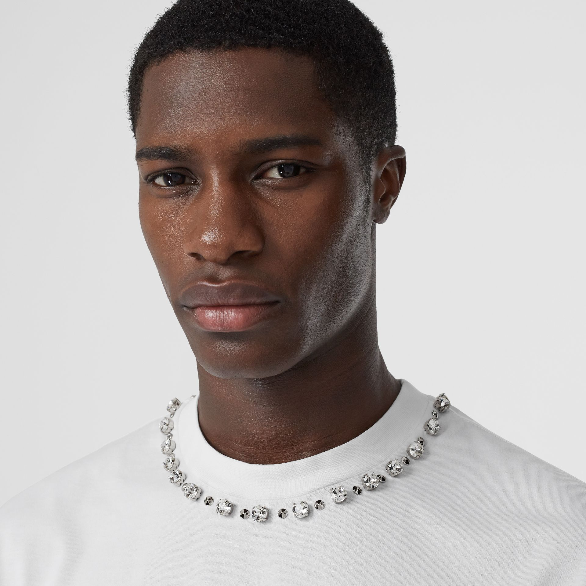 Embellished Cotton Oversized T-shirt in White - Men | Burberry Hong Kong S.A.R - gallery image 1