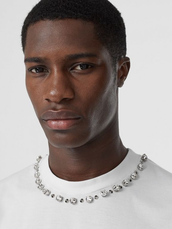 Embellished Cotton Oversized T-shirt in White - Men | Burberry Hong Kong S.A.R - cell image 1