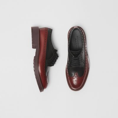 Brogue Detail Leather Derby Shoes in Black