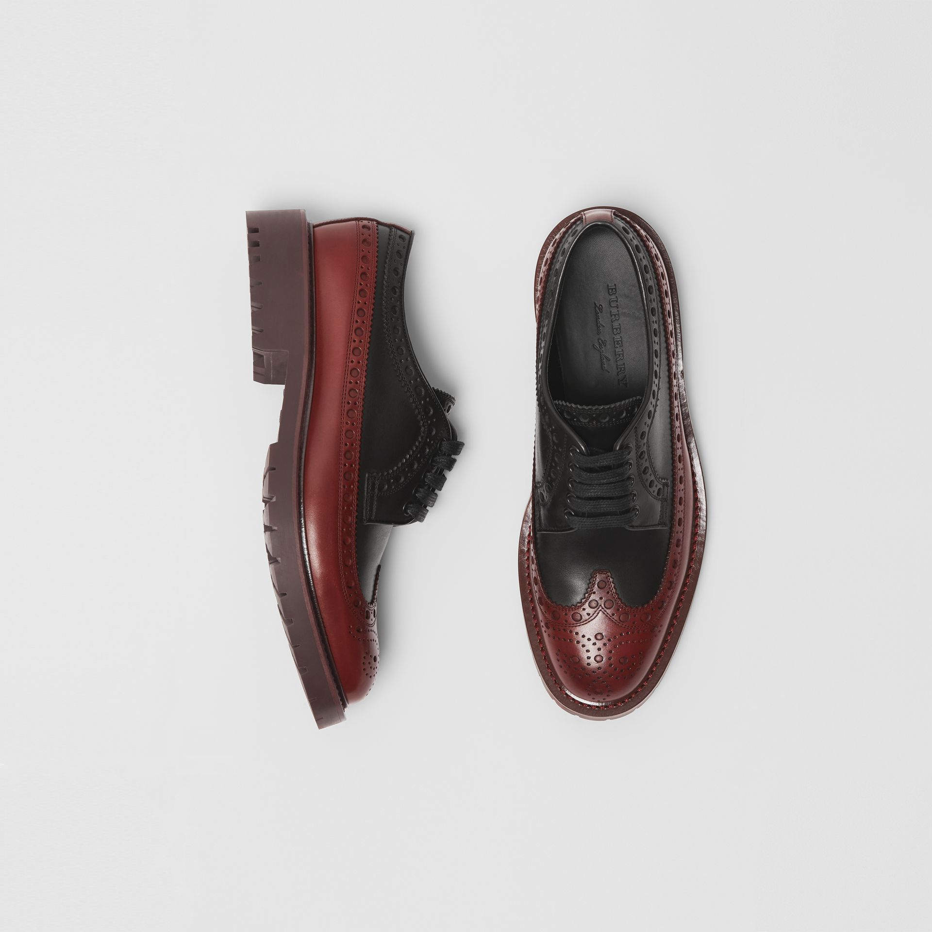 Brogue Detail Leather Derby Shoes in Black/antique Garnet - Men | Burberry United Kingdom - gallery image 0