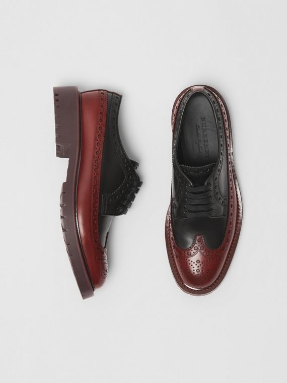 Brogue Detail Leather Derby Shoes in Black/antique Garnet