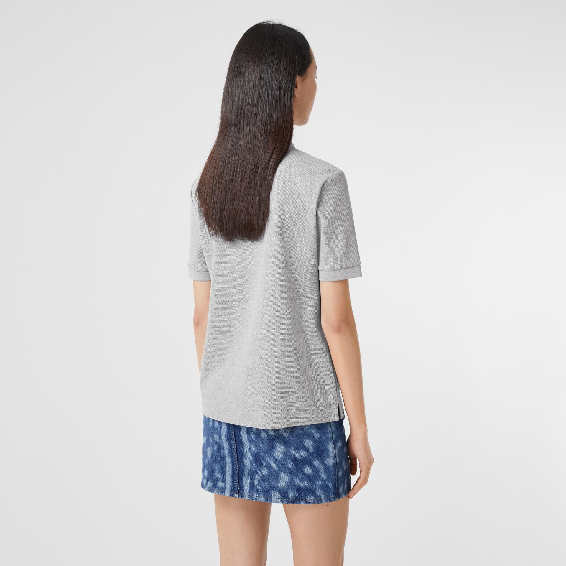 Monogram Motif Cotton Piqué Polo Shirt in Pale Grey Melange - Women | Burberry United Kingdom - gallery image 2