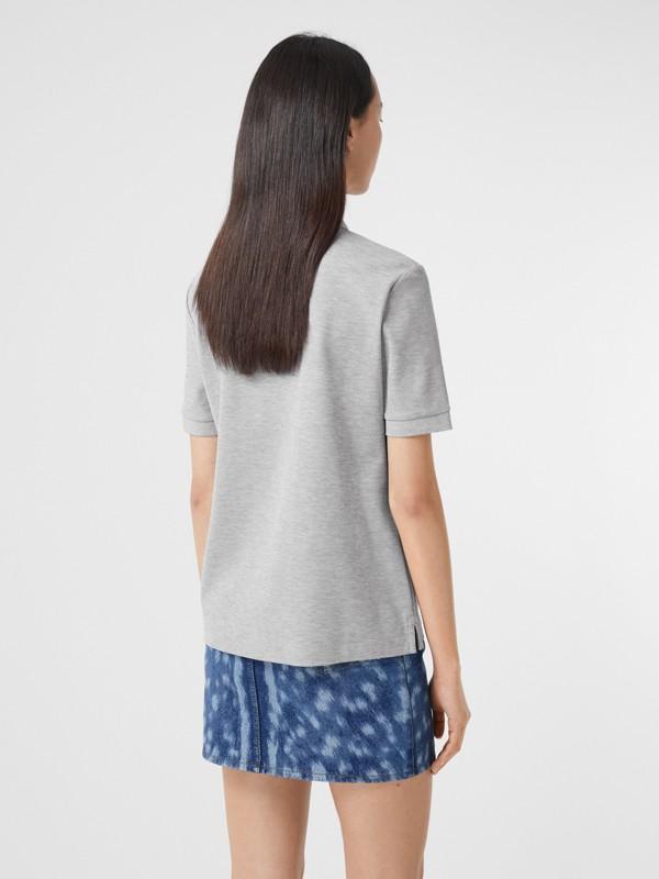 Monogram Motif Cotton Piqué Polo Shirt in Pale Grey Melange - Women | Burberry United Kingdom - cell image 2