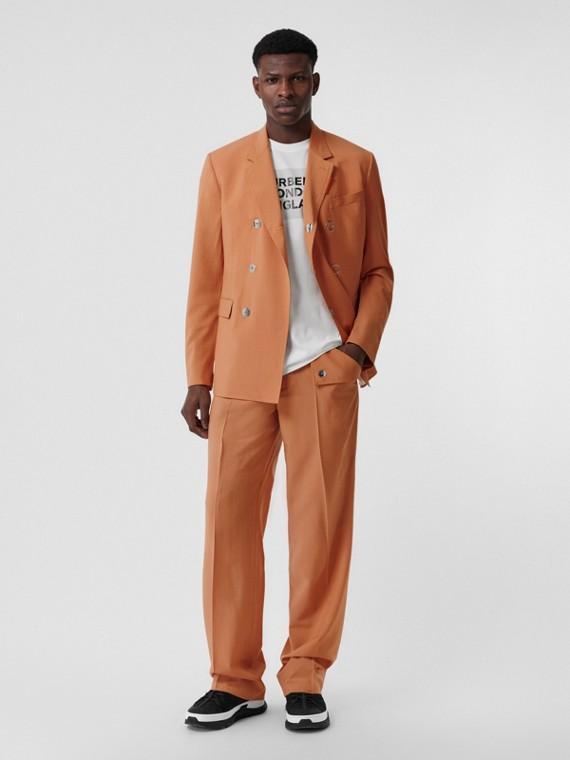 Pantalones de pernera ancha en lana suavizada (Naranja)