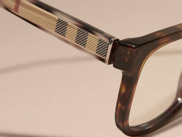 Light russet brown Check Detail Rectangular Optical Frames Light Russet Brown - cell image 1