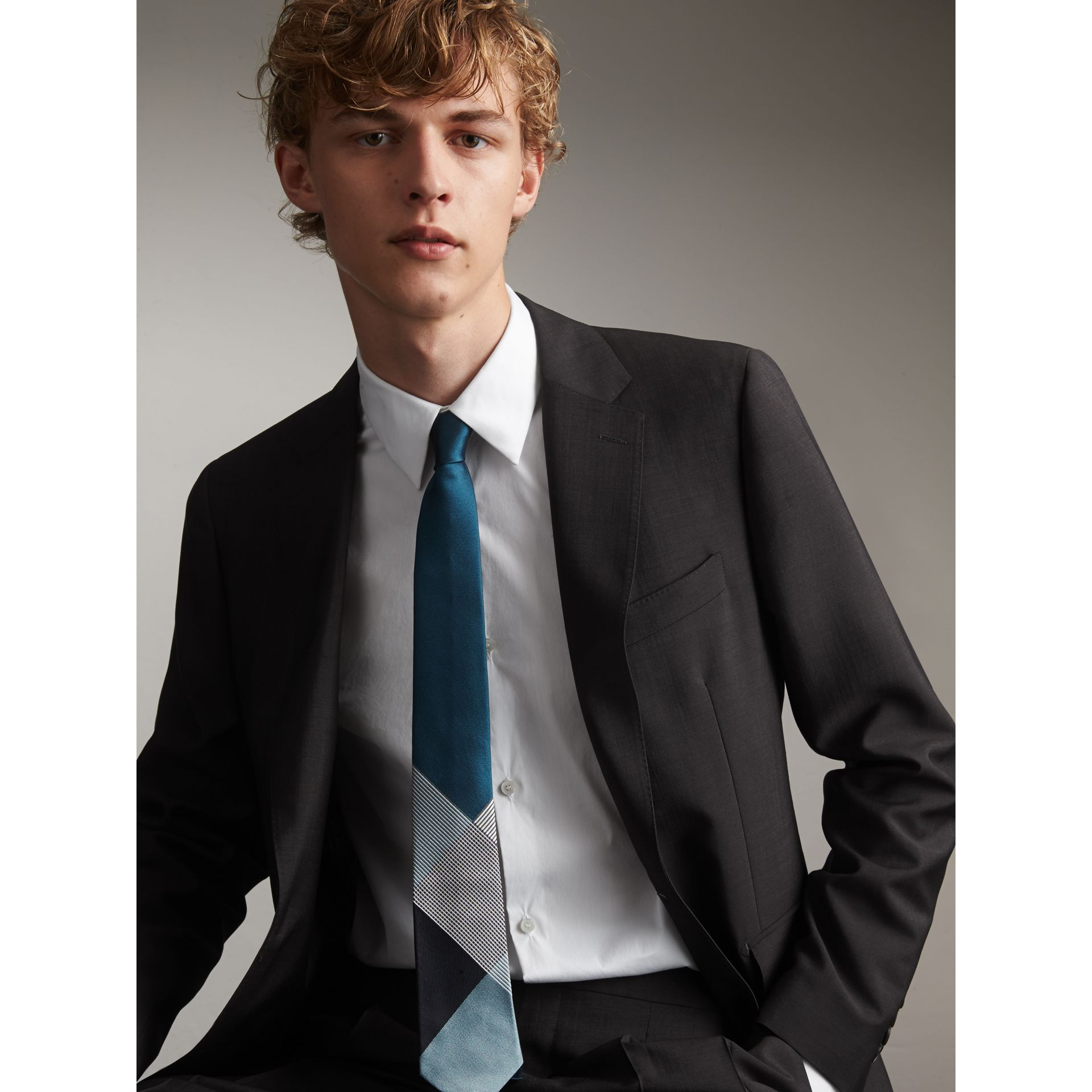 Modern Cut Check Silk Twill Jacquard Tie in Mineral Blue - Men | Burberry - gallery image 3