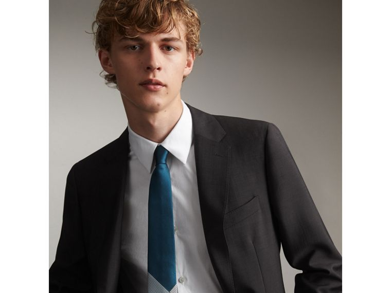 Modern Cut Check Silk Twill Jacquard Tie in Mineral Blue - Men | Burberry - cell image 2