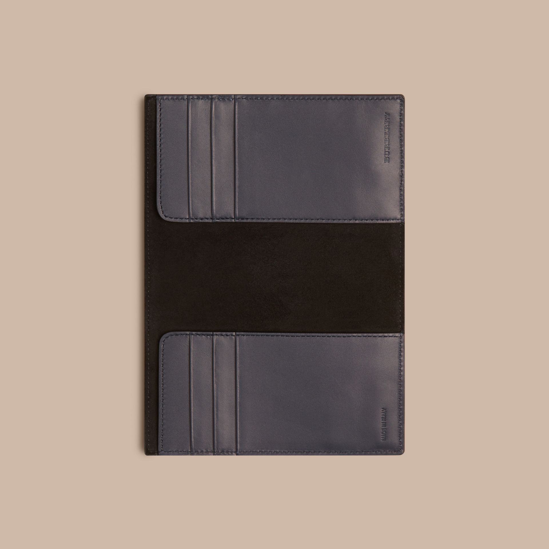 London Leather Passport Cover in Dark Navy - Men | Burberry - gallery image 4