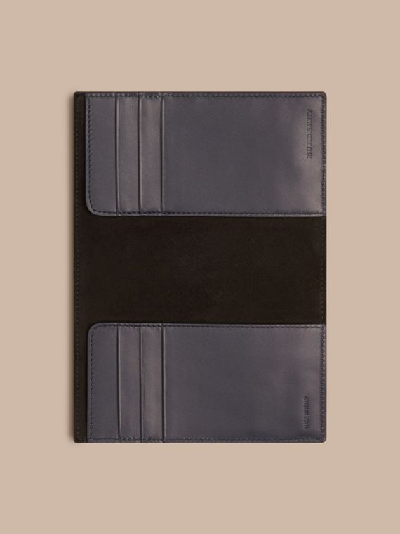 London Leather Passport Cover in Dark Navy - Men | Burberry - cell image 3