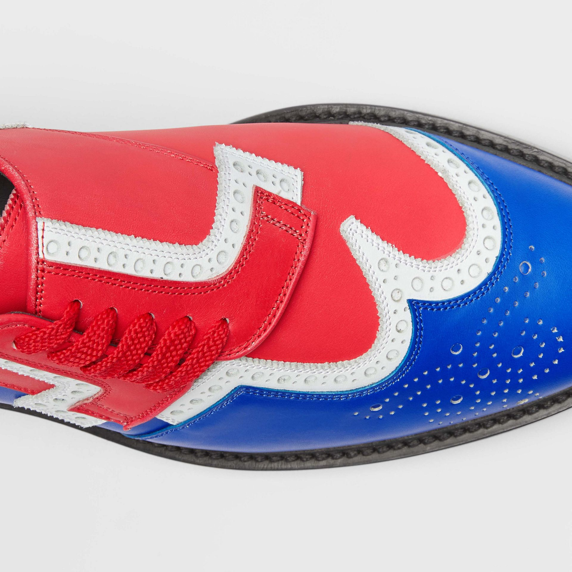 Asymmetric Closure Tri-tone Leather Brogues in Blue/red - Men | Burberry - gallery image 1