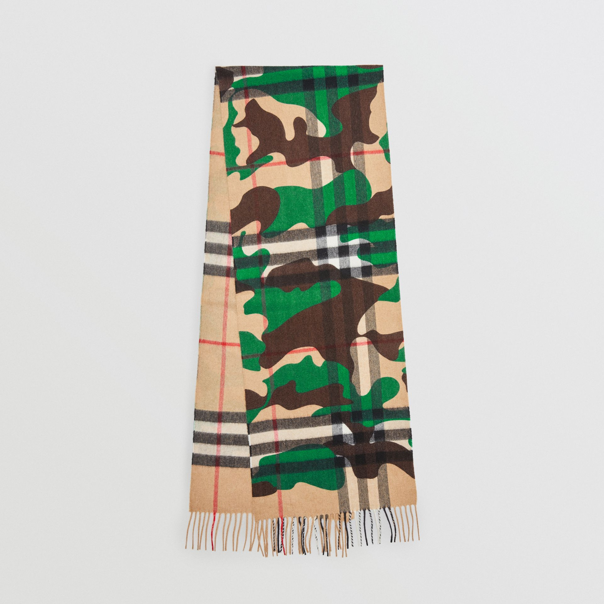 The Classic Camouflage Check Cashmere Scarf in Khaki | Burberry - gallery image 0