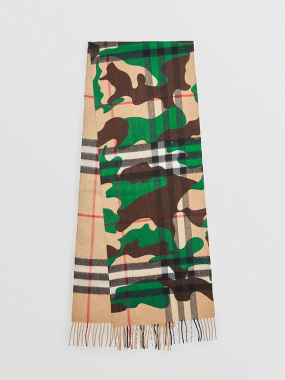 The Classic Camouflage Check Cashmere Scarf in Khaki
