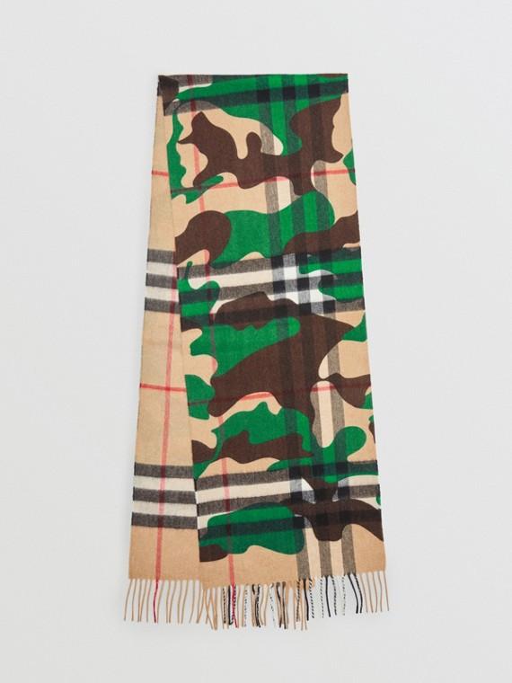 Der klassische Kaschmirschal mit Karo- und Camouflagemuster (Khakifarben)