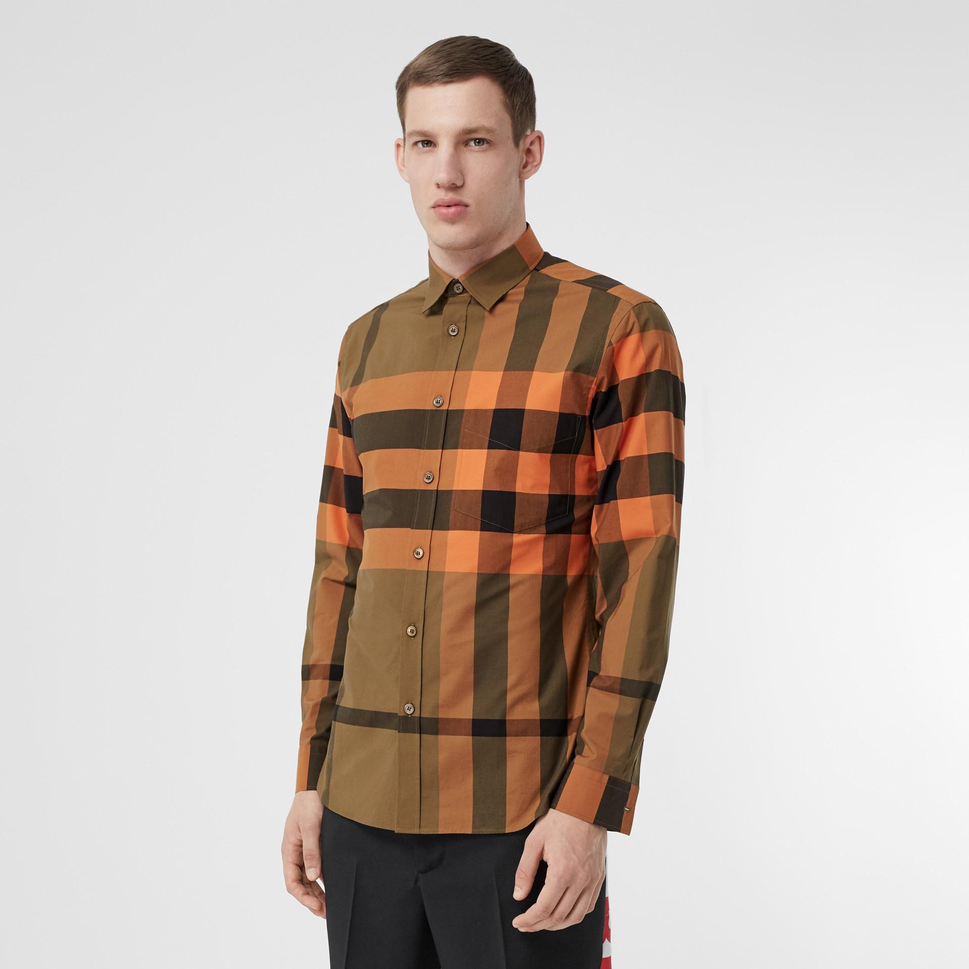 Check Stretch Cotton Poplin Shirt in Bright Orange - Men | Burberry - gallery image 4