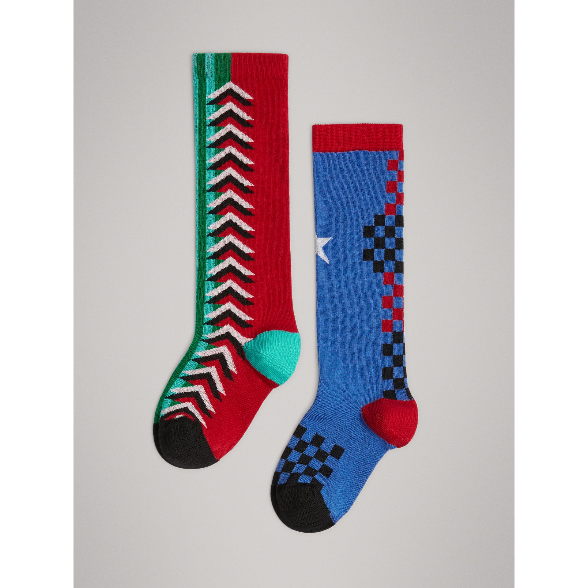 Graphic Intarsia Cotton Blend Socks in Multicolour | Burberry - gallery image 3