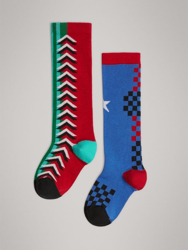 Graphic Intarsia Cotton Blend Socks in Multicolour | Burberry - cell image 3