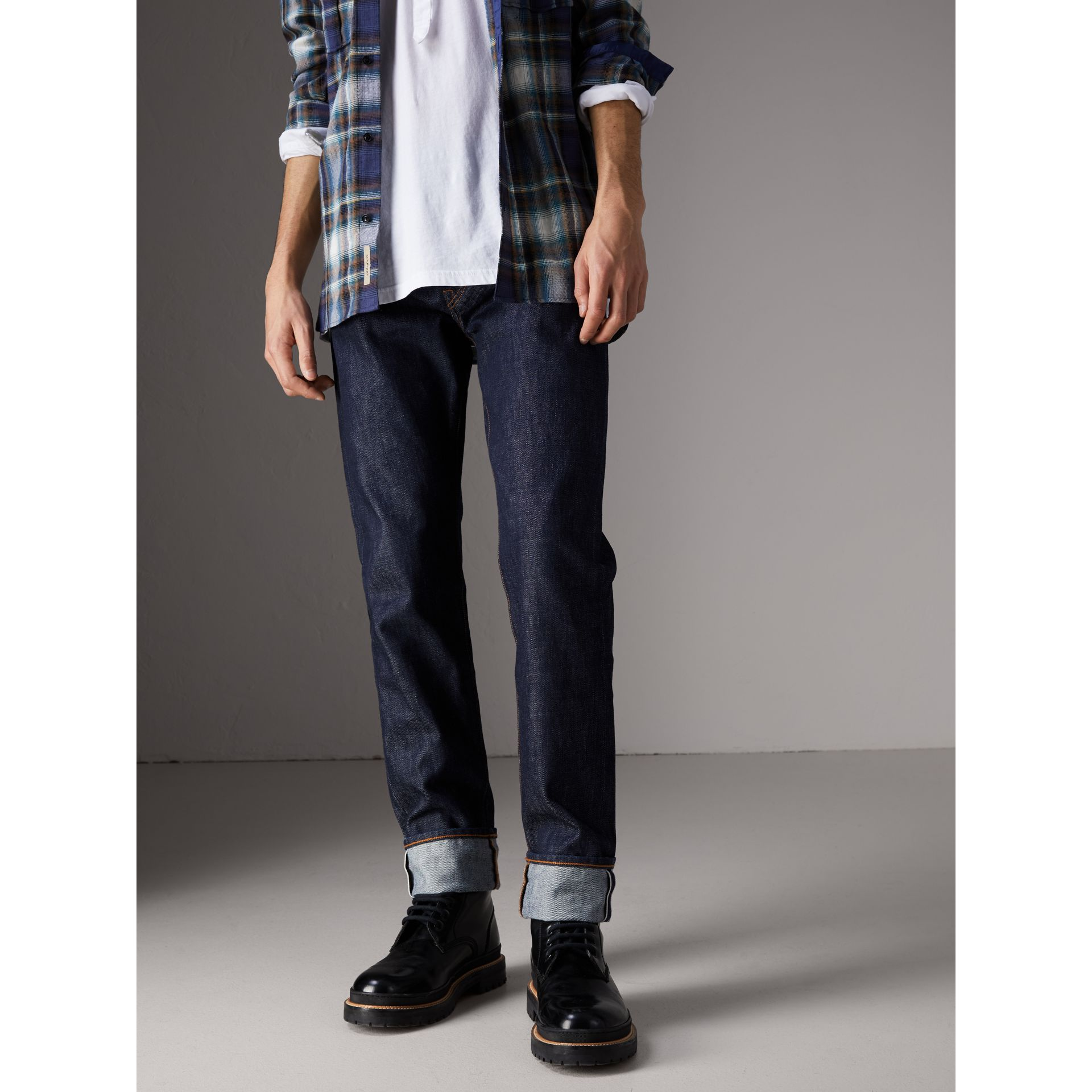 Relaxed Fit Japanese Selvedge Denim Jeans in Mid Indigo Blue - Men | Burberry - gallery image 6