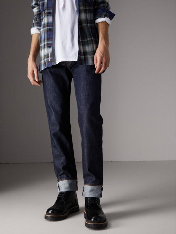 Calças de tecido jeans japonês com corte solto (Azul Índigo Médio)