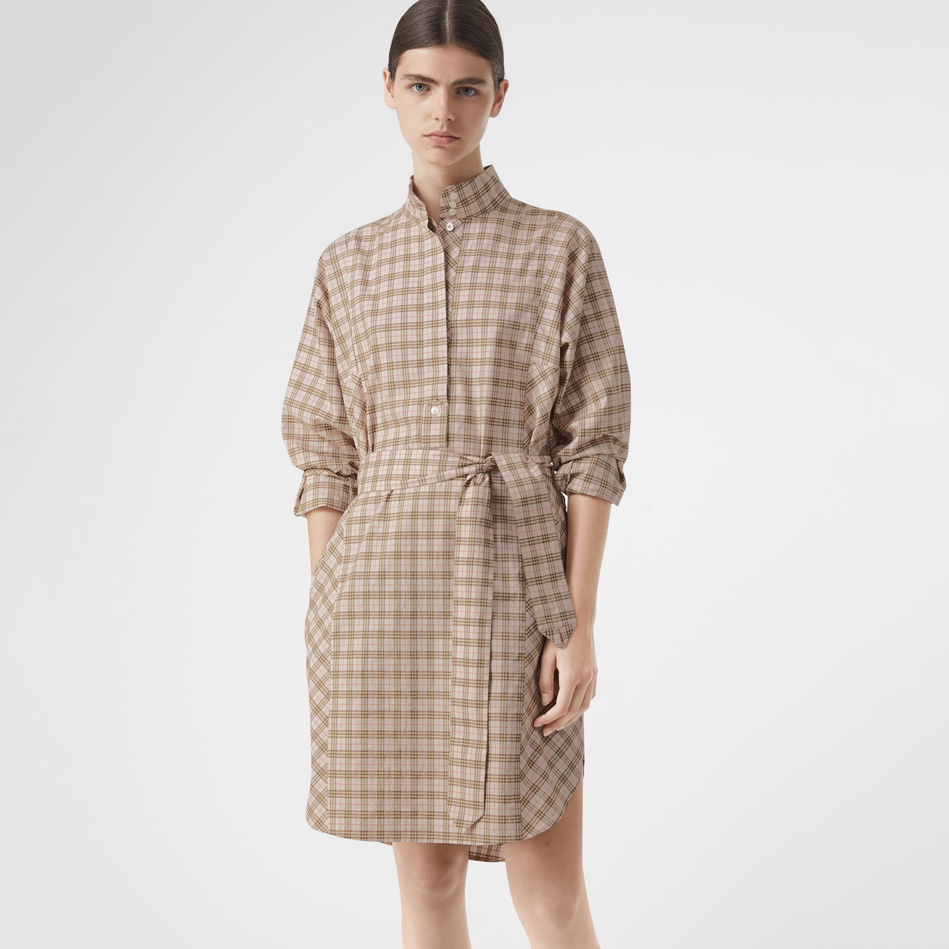 Check Cotton Tie-waist Shirt Dress in Ice Pink - Women | Burberry United Kingdom - gallery image 4