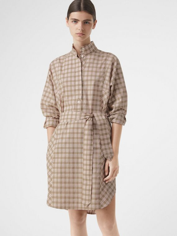 Check Cotton Tie-waist Shirt Dress in Ice Pink