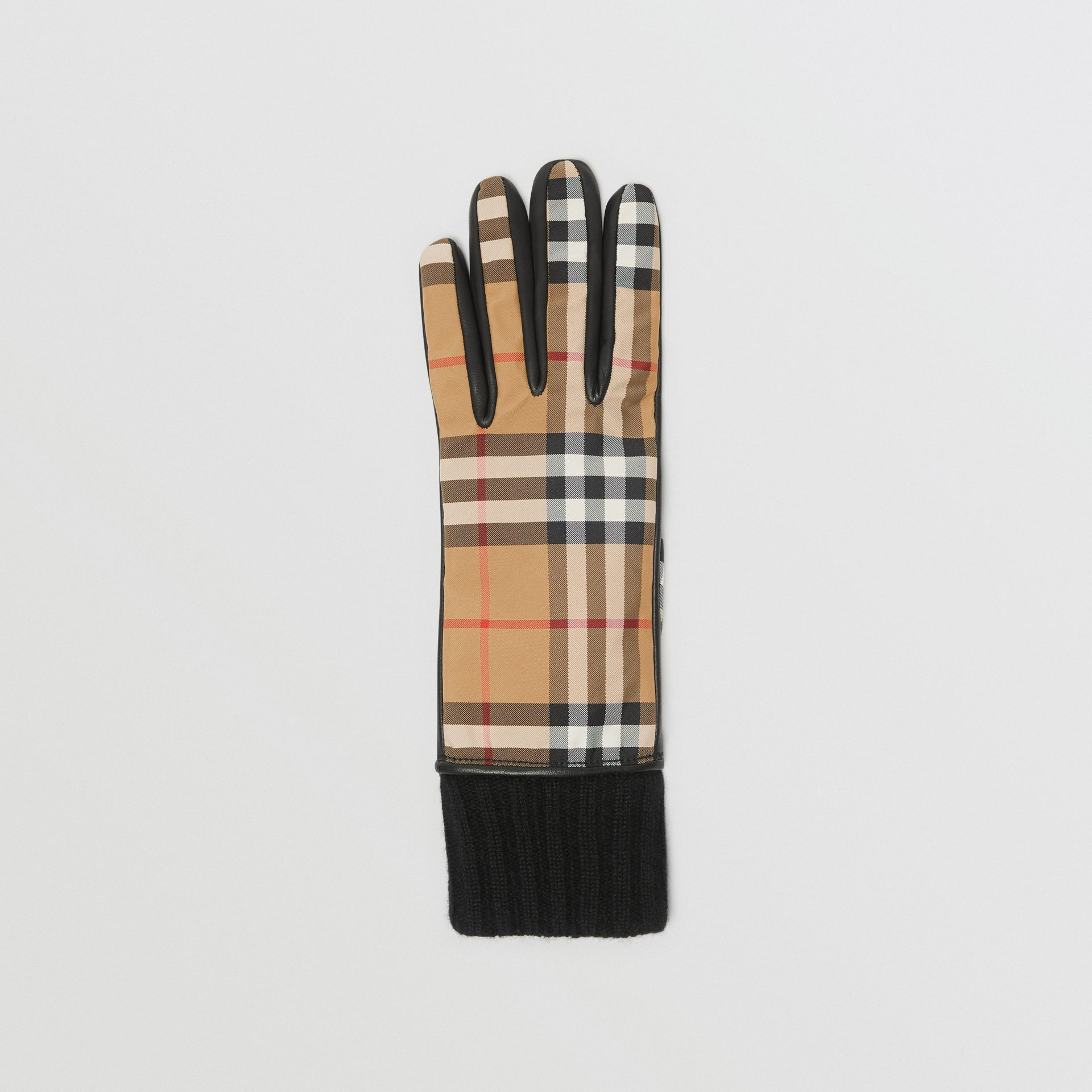Cashmere-lined Vintage Check and Lambskin Gloves in Antique Yellow/black - Women | Burberry - gallery image 2