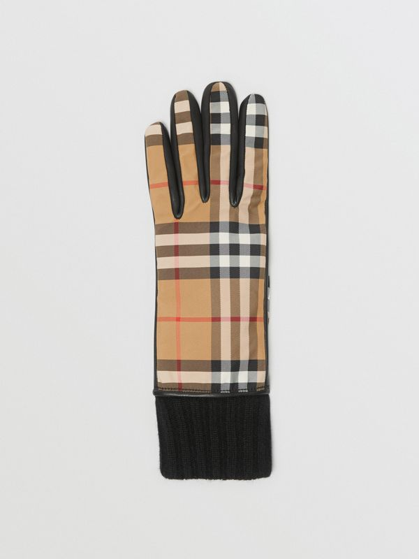 Cashmere-lined Vintage Check and Lambskin Gloves in Antique Yellow/black - Women | Burberry - cell image 2