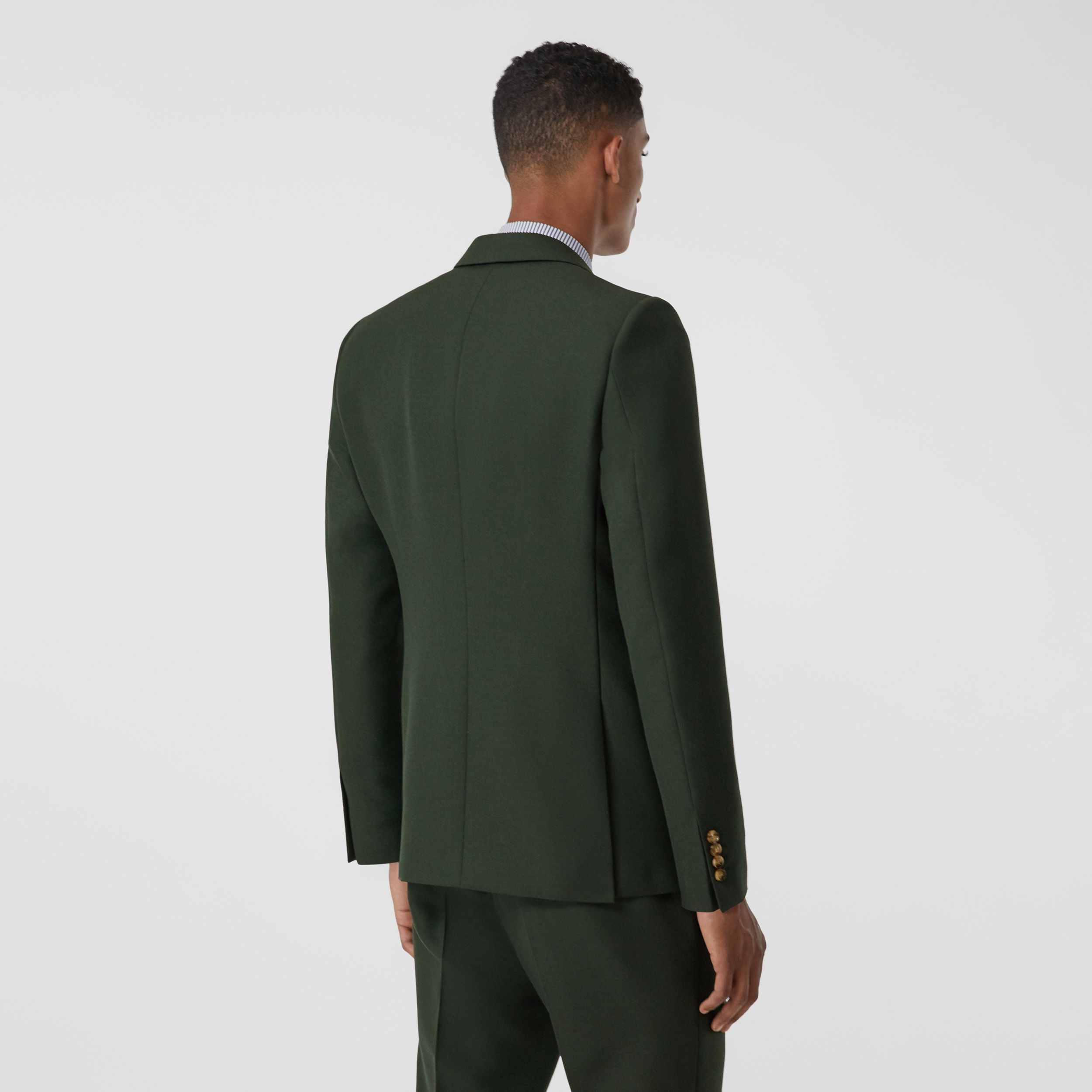 English Fit Wool Mohair Tailored Jacket in Dark Forest Green - Men | Burberry - 3