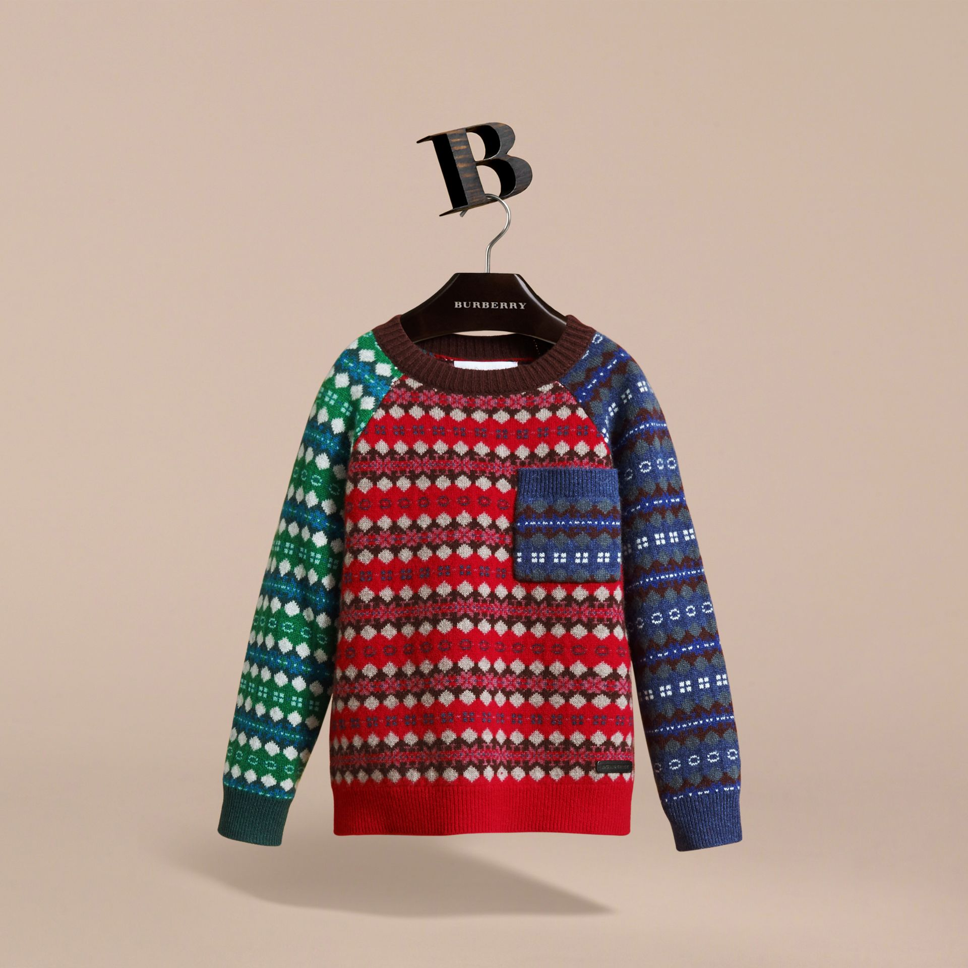 Colour Block Fair Isle Wool Cashmere Sweater in Rosewood - Boy | Burberry - gallery image 3