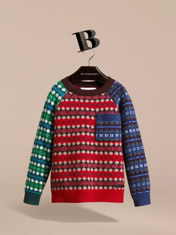 Colour Block Fair Isle Wool Cashmere Sweater in Rosewood - Boy | Burberry - cell image 2