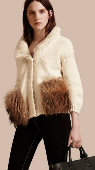 Shawl Collar Wool Cashmere Cardigan with Fur Trim