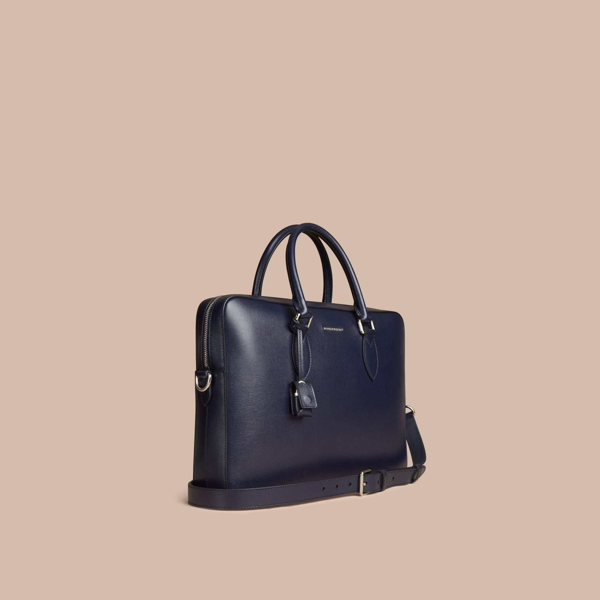Medium London Leather Briefcase Dark Navy - gallery image 1
