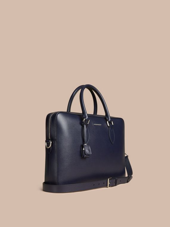 Medium London Leather Briefcase Dark Navy