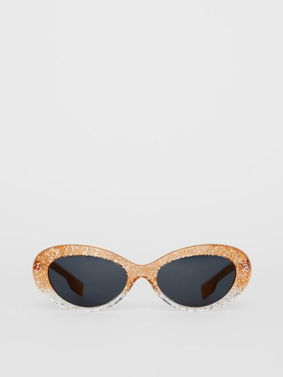 Glitter Cat-eye Frame Sunglasses in Orange