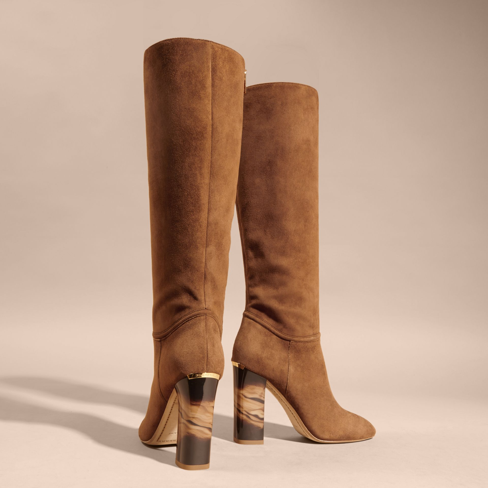 Clove brown Suede Knee-high Boots - gallery image 4