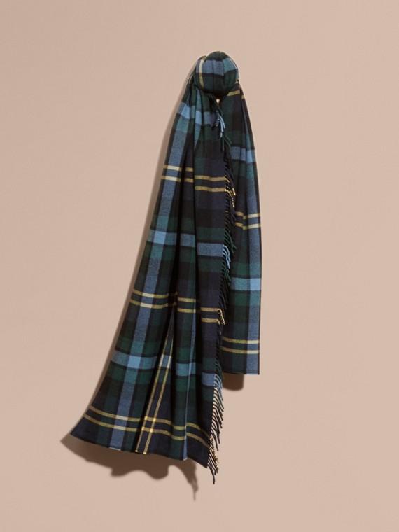 Extragroßer Schal aus Wolle und Kaschmir mit Schottenmuster und Fransen Tintenblau