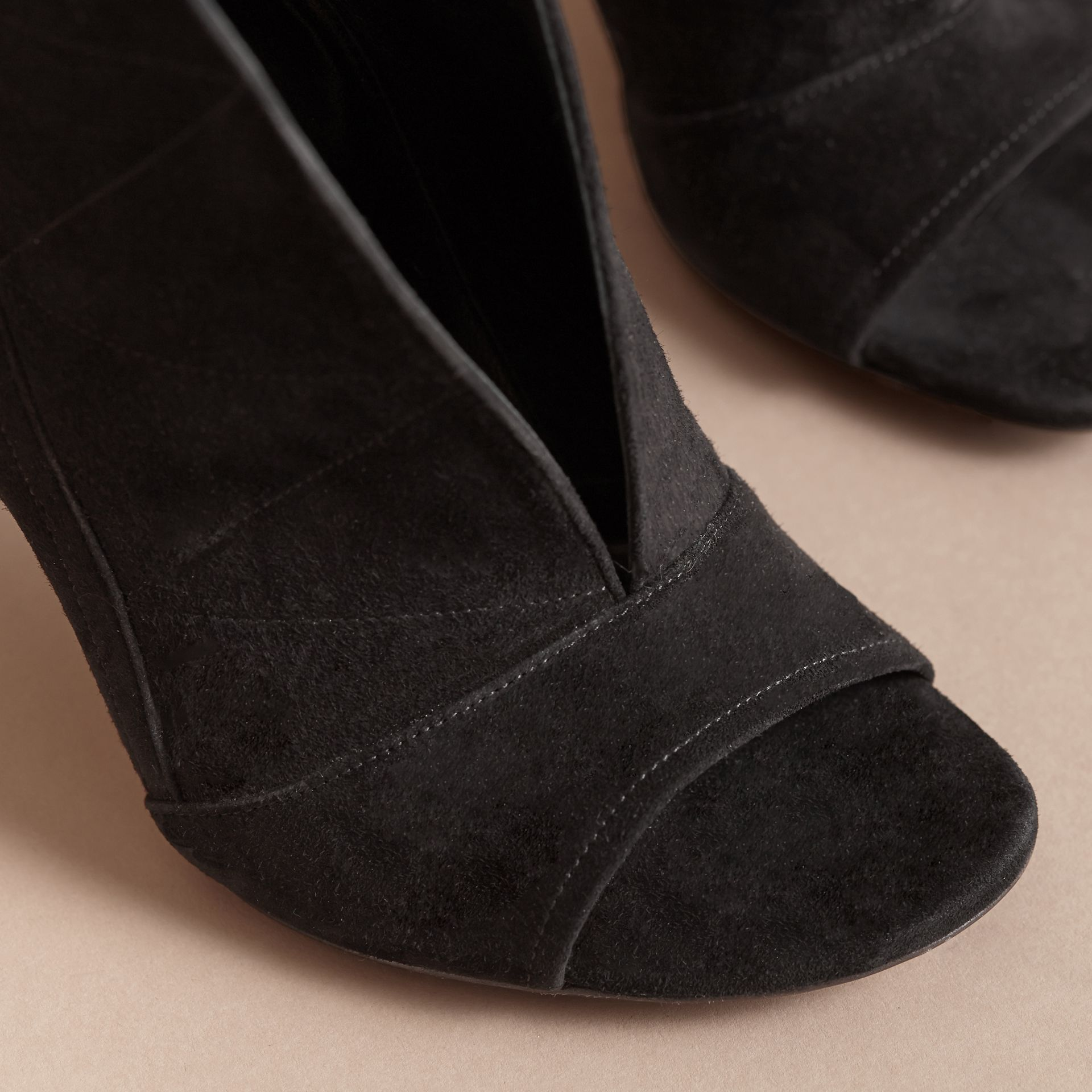 Buckle Detail Suede Peep-toe Ankle Boots in Black - Women | Burberry - gallery image 5
