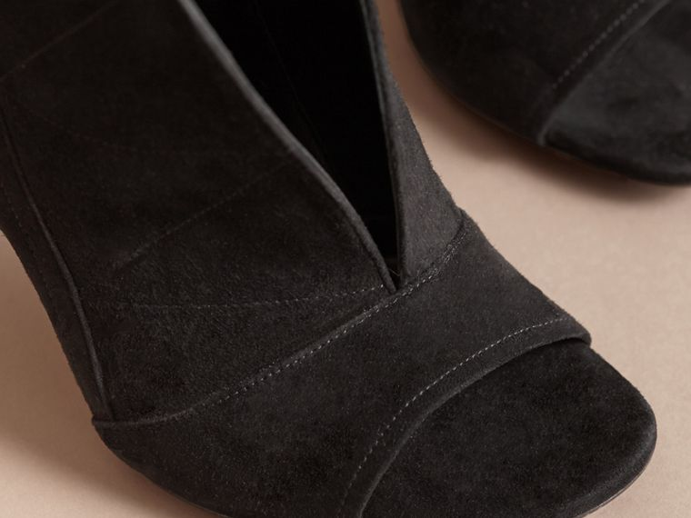 Buckle Detail Suede Peep-toe Ankle Boots in Black - Women | Burberry - cell image 4