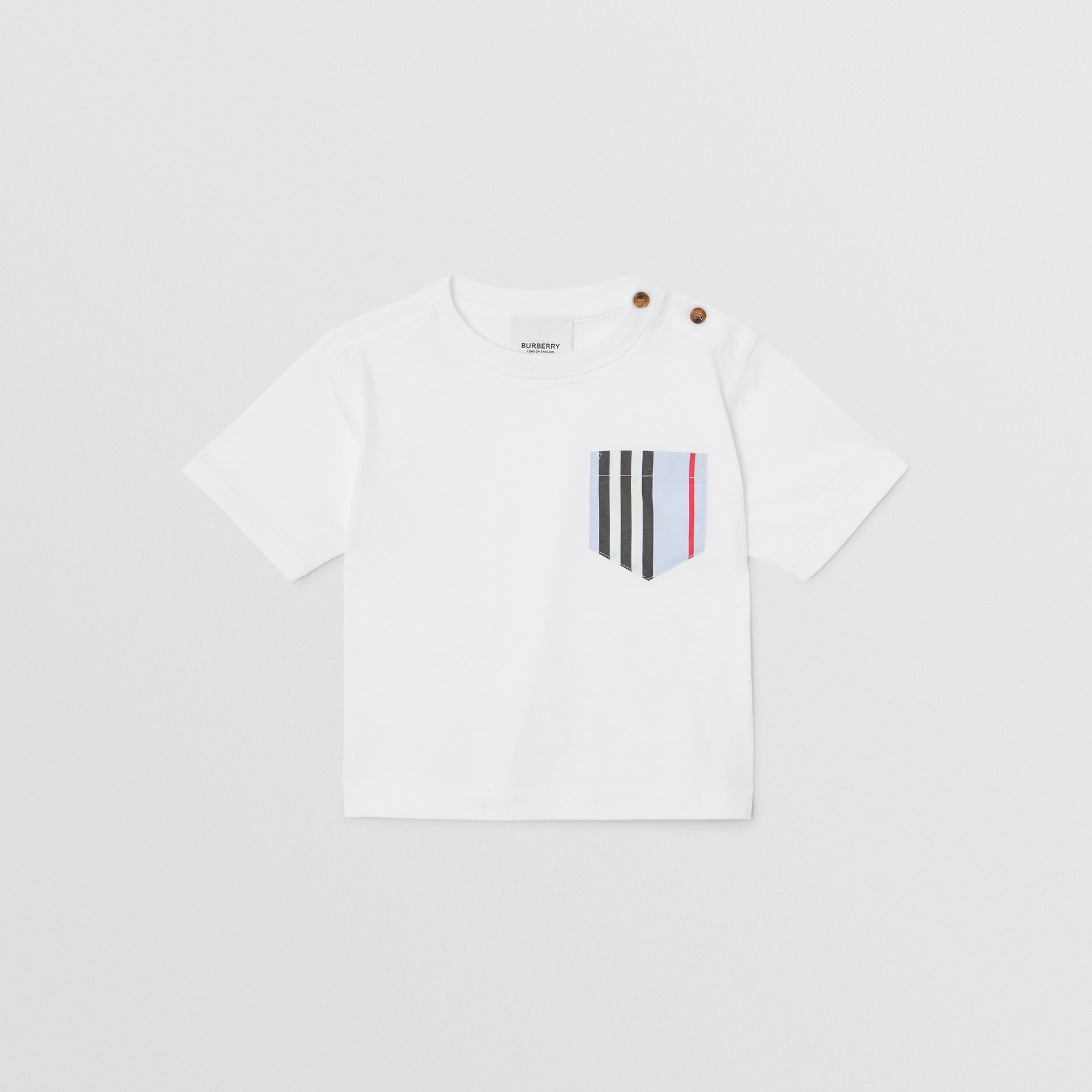 Icon Stripe Pocket Cotton T-shirt in White/pale Blue - Children | Burberry - gallery image 0