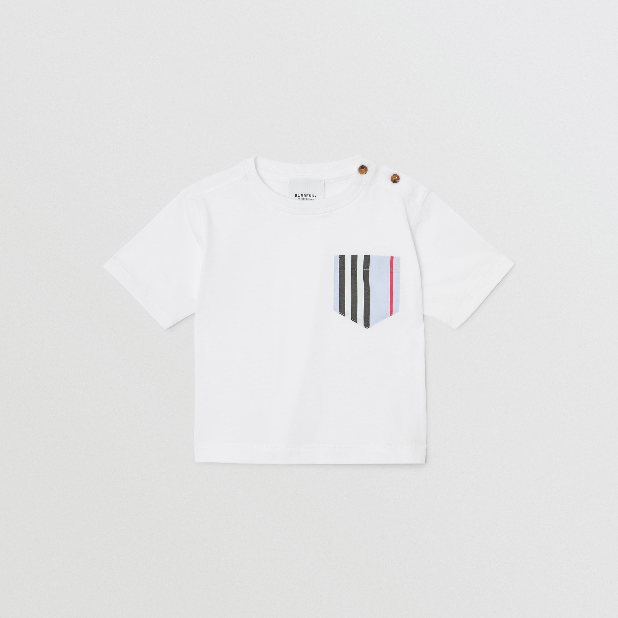 Icon Stripe Pocket Cotton T-shirt in White/pale Blue - Children | Burberry - 1