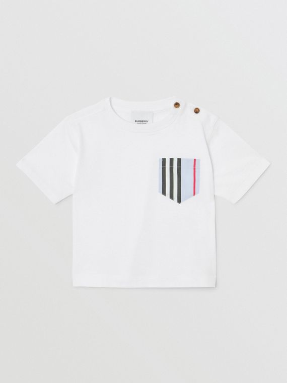 Icon Stripe Pocket Cotton T-shirt in White/pale Blue