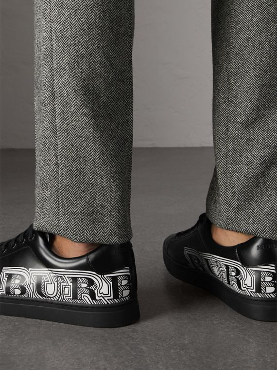 Doodle Print Leather Trainers in Black - Men | Burberry - cell image 2