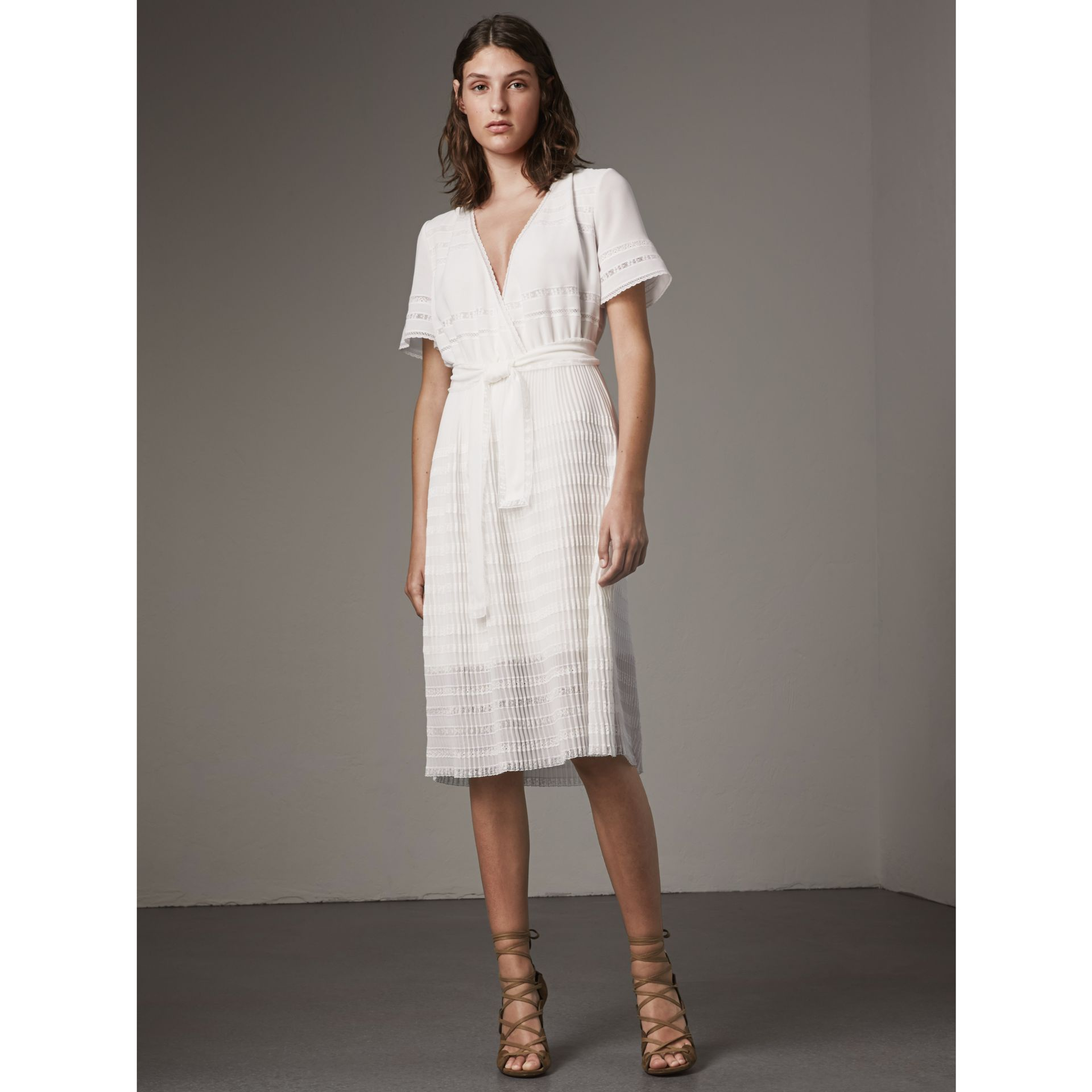 Pleated Georgette Wrap Dress in Natural White - Women | Burberry - gallery image 1