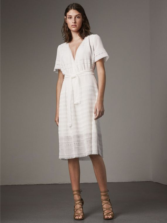 Pleated Georgette Wrap Dress in Natural White