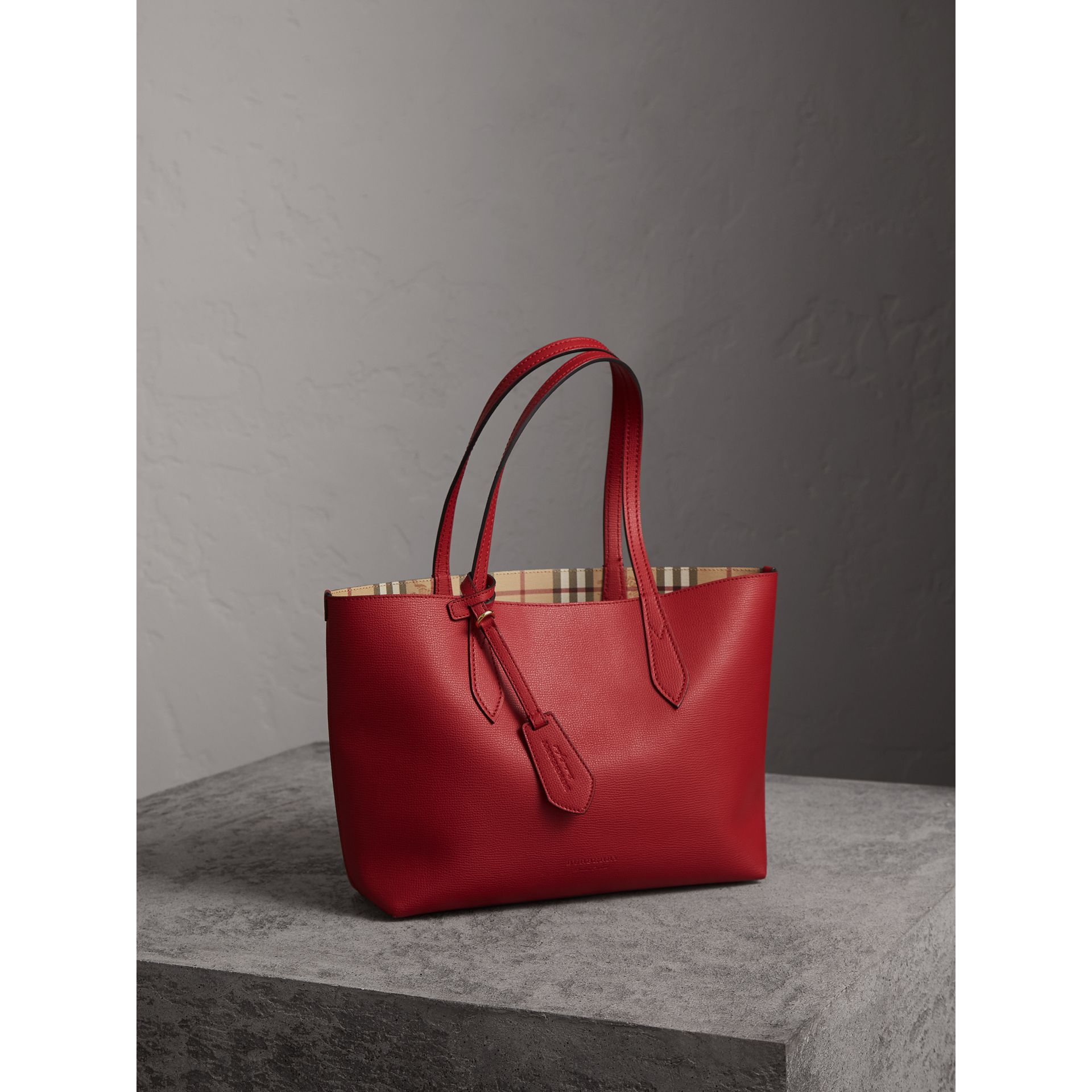 The Small Reversible Tote in Haymarket Check and Leather in Poppy Red - Women | Burberry - gallery image 7